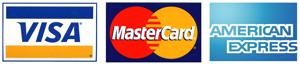 Logotipos de visa master card y american express
